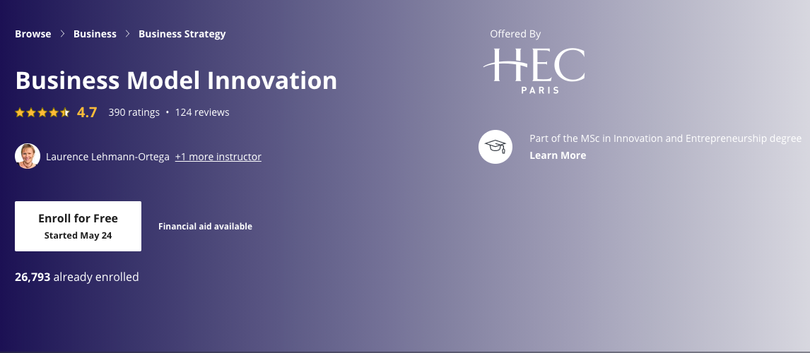 Business Model Innovation - Coursera