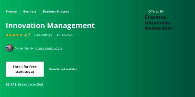 Innovation management coursera