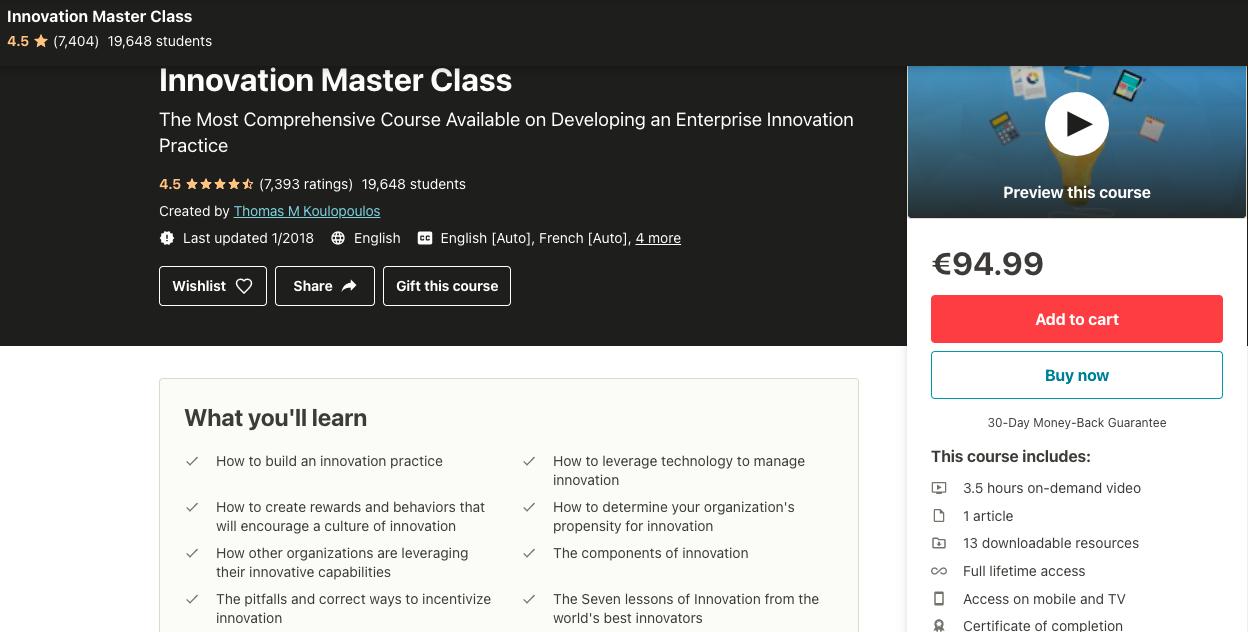 Innovation master class udemy