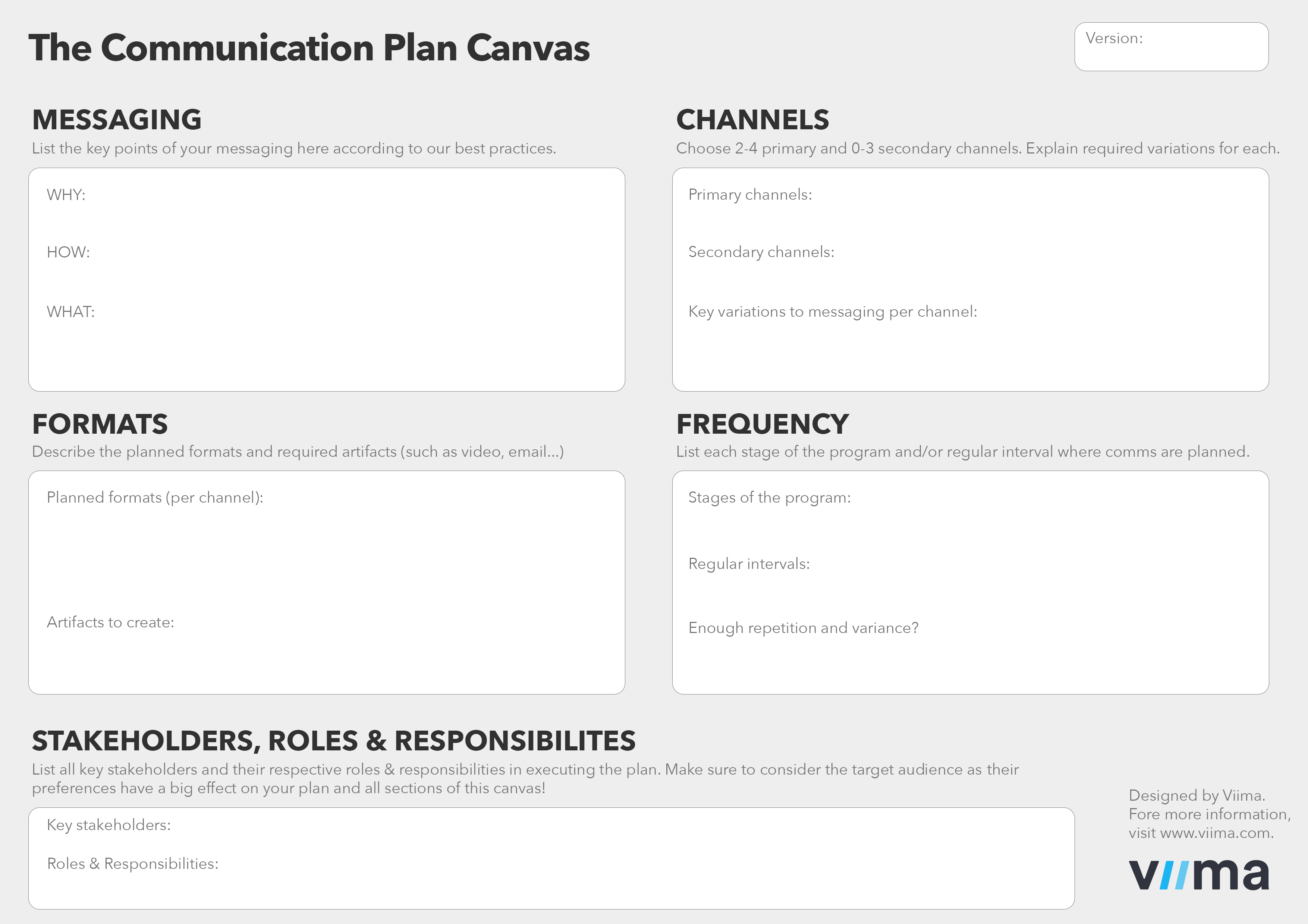 Viima Communication Plan Canvas