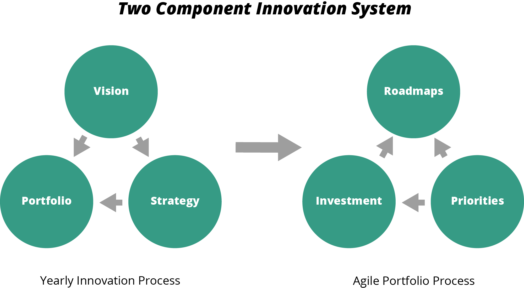 Two component innovation system for product portfolio management