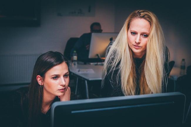 Employees brainstorming development ideas