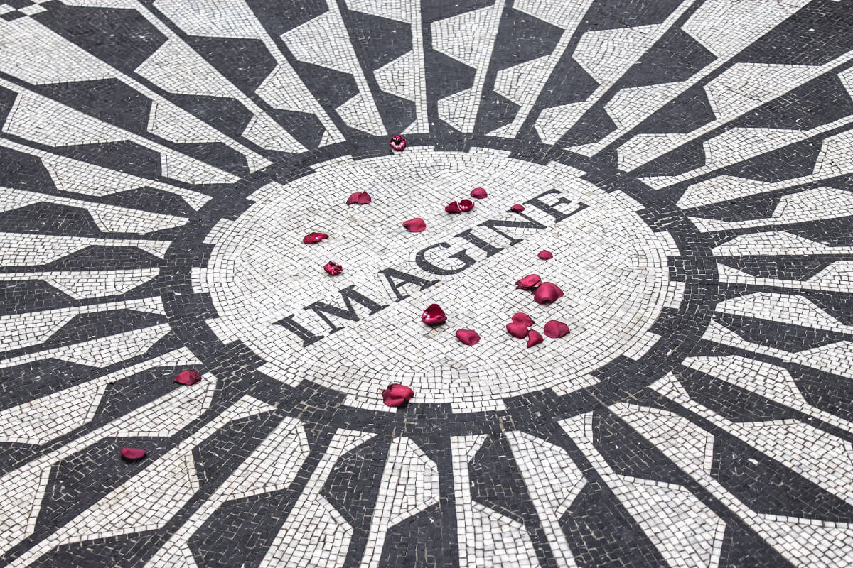 Imagine written on stone