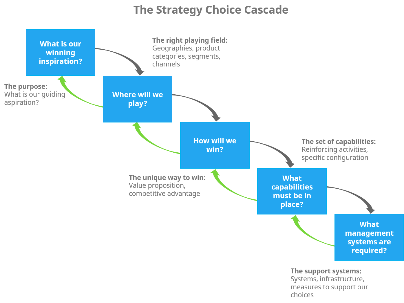 The strategy choice cascade