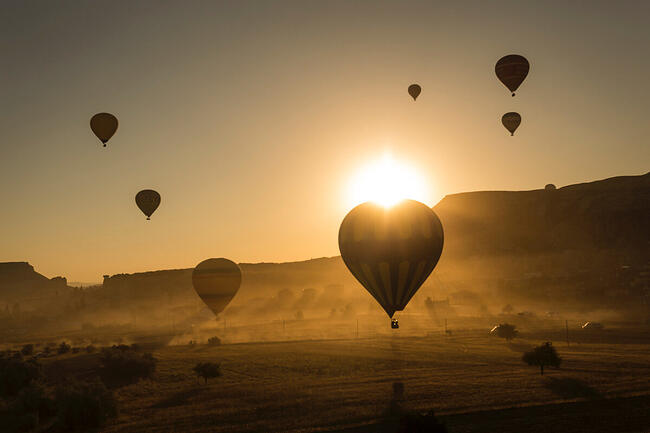 Hot air balloons in the horizon