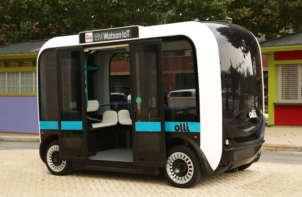 Olli from the outside. Image courtesy of Local Motors: https://localmotors.com/posts/2016/06/local-motors-debuts-olli-first-self-driving-vehicle-tap-power-ibm-watson/