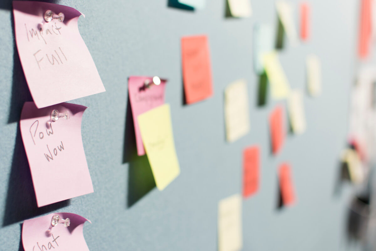Post-it notes on the wall