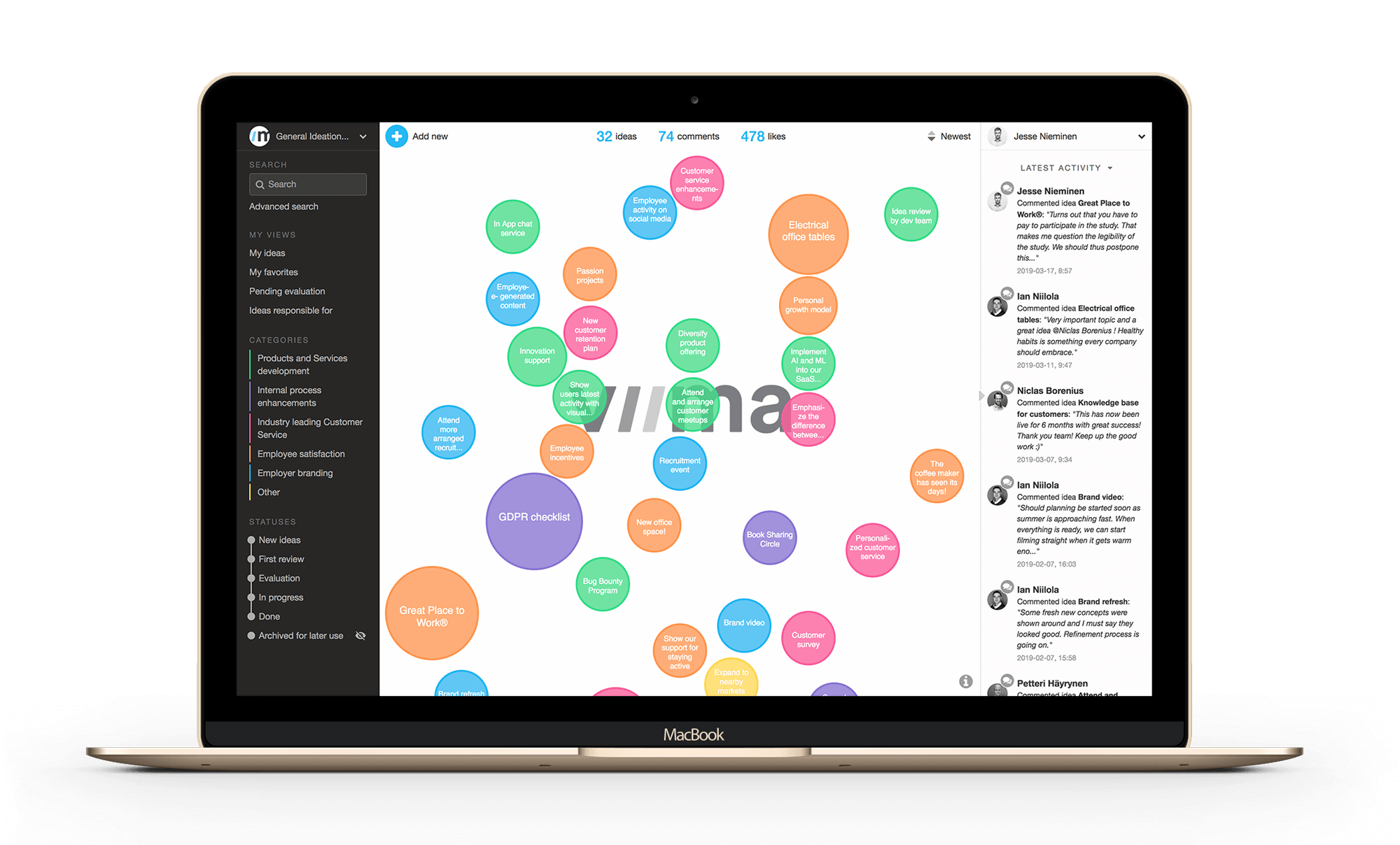 Viima's idea management software