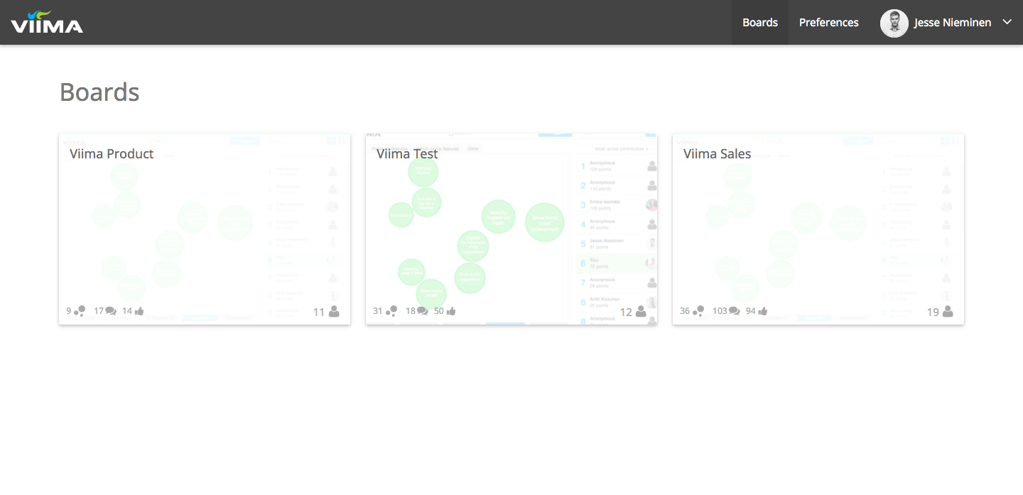Viima Organization Dashboard Wide