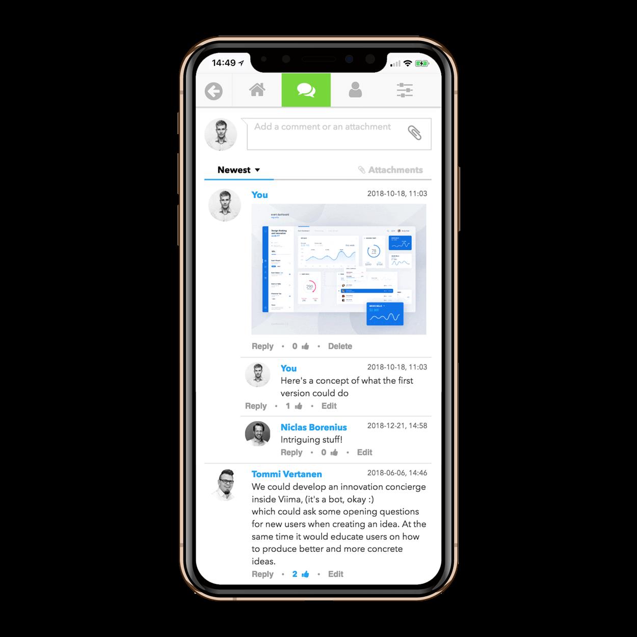 Viima mobile app discussion